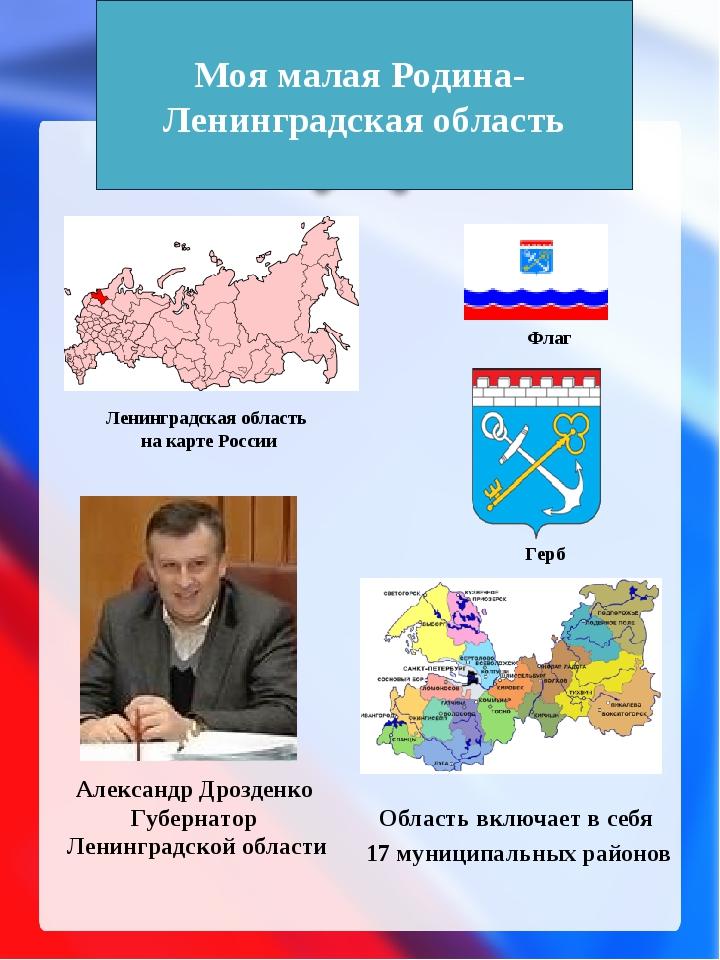 Ленинградская область на карте России Область включает в себя 17 муниципальны...