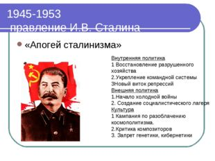 1945-1953 правление И.В. Сталина «Апогей сталинизма» Внутренняя политика 1 Во