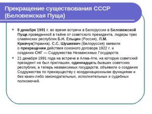 Прекращение существования СССР (Беловежская Пуща) 8 декабря 1991 г. во время
