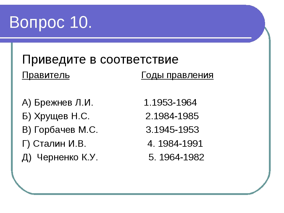 Вопрос 10. Приведите в соответствие Правитель Годы правления А) Брежнев Л.И....
