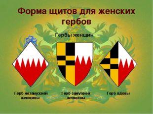 Форма щитов для женских гербов
