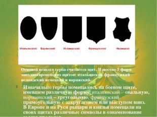 Изначально гербы помещались на боевом щите, имевшем различную форму: итальянс