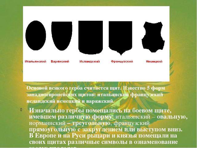 Изначально гербы помещались на боевом щите, имевшем различную форму: итальянс...