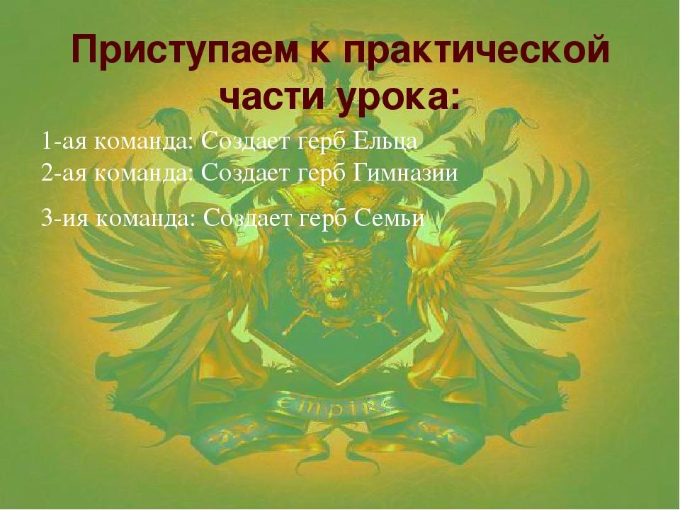 Приступаем к практической части урока:  1-ая команда: Создает герб Ельца 2-а...
