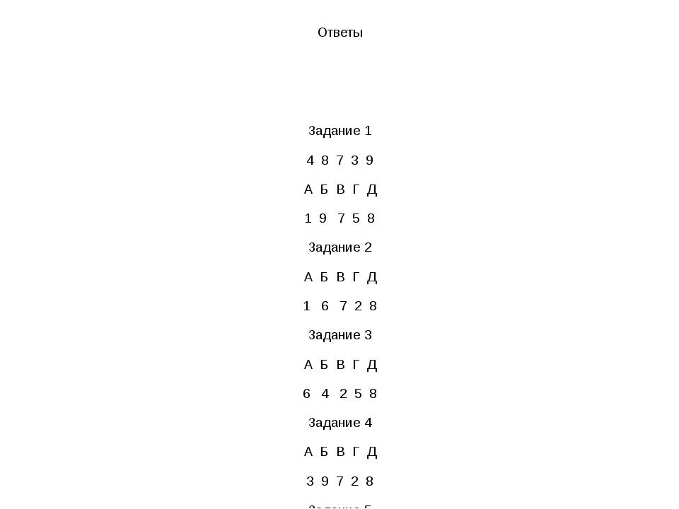Ответы Задание 1 4 8 7 3 9 А Б В Г Д 1 9 7 5 8 Задание 2 А Б В Г Д 1 6 7 2 8...