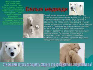 Белые медведи Белый медведь очень прожорлив, дик, зол, кровожаден и очень сил