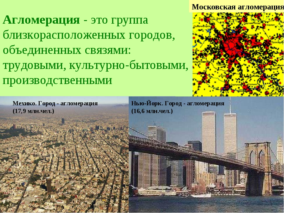 Агломерация - это группа близкорасположенных городов, объединенных связями:...