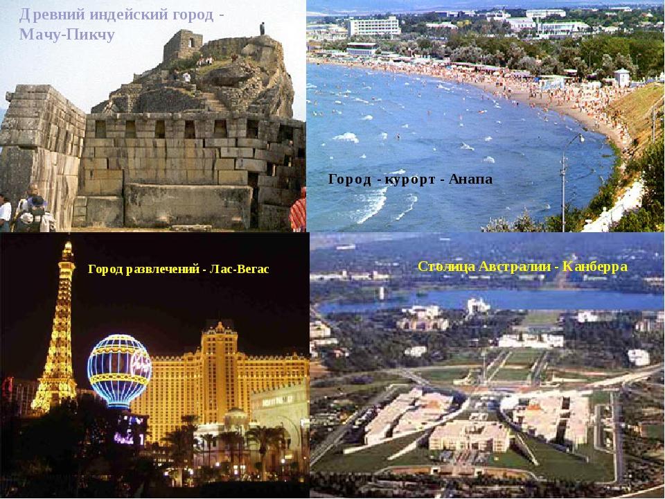Древний индейский город - Мачу-Пикчу Город - курорт - Анапа Город развлечений...