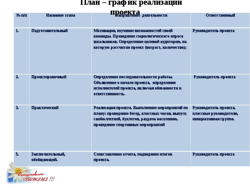 План – график реализации проекта № п/пНазвание этапаНаправление деятельност...