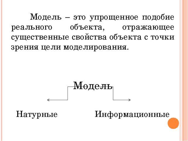 Какие существуют виды информационных моделей? Информационные модели образные...