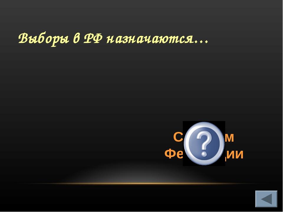 Выборы в РФ назначаются… Советом Федерации