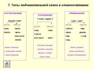 7. Типы подчинительной связи в словосочетании СОГЛАСОВАНИЕ Какой? Чей? гл.сл.