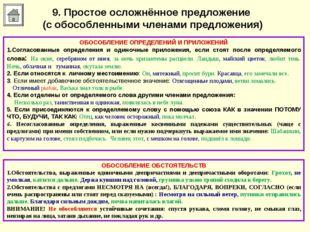 9. Простое осложнённое предложение (с обособленными членами предложения) ОБОС