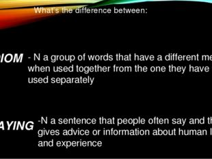 What's the difference between: IDIOM SAYING -N a sentence that people often s