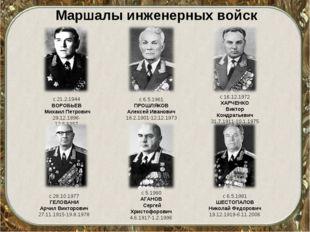 Маршалы инженерных войск с 21.2.1944 ВОРОБЬЕВ Михаил Петрович 29.12.1896-12.