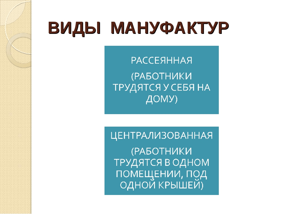 ВИДЫ МАНУФАКТУР