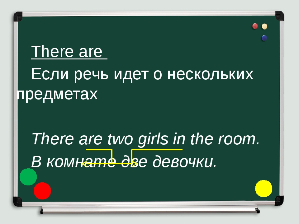 There are 	Если речь идет о нескольких предметах 	 	There are two girls i...