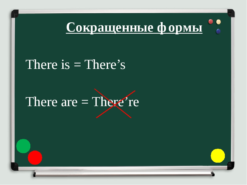 Сокращенные формы 	 	There is = There's 	There are = There're