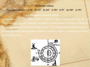 Ключевая задача. Нарисуйте азимуты: а) 70° б) 135° в) 210° г) 305° е) 95° ж)