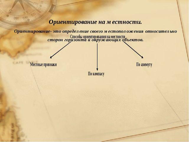 Ориентирование на местности. Ориентирование- это определение своего местополо...