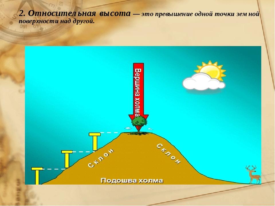 2. Относительная высота — это превышение одной точки земной поверхности над д...