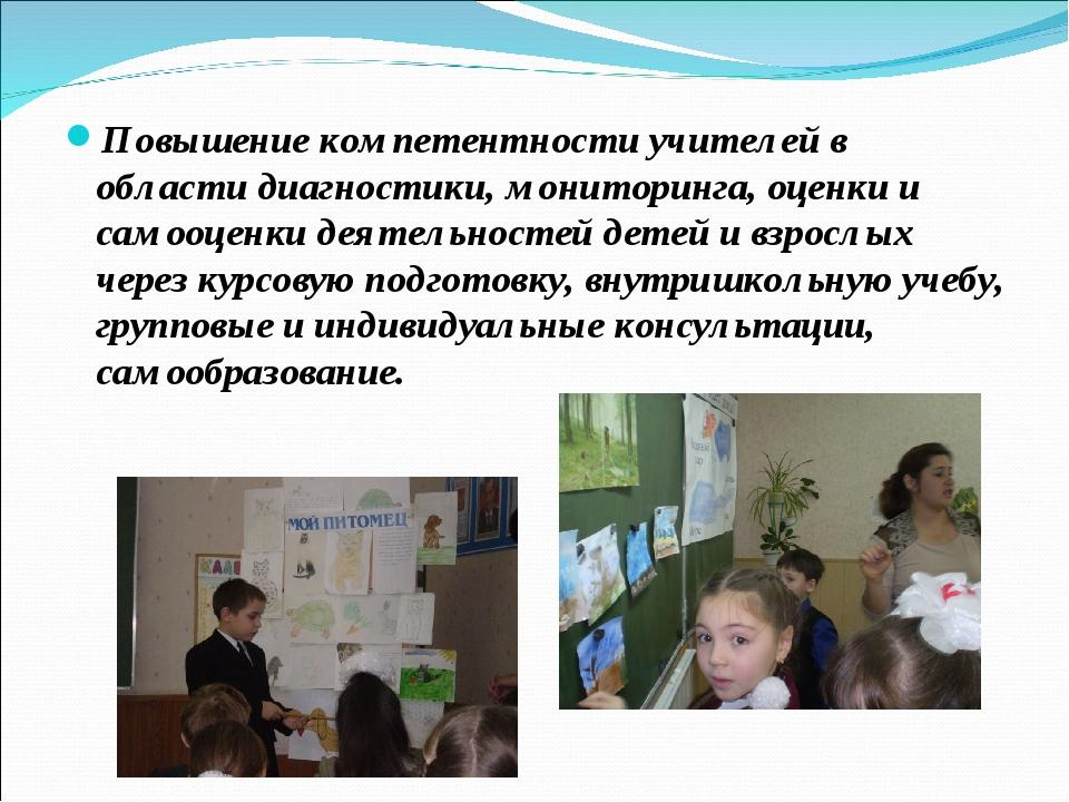 Повышение компетентности учителей в области диагностики, мониторинга, оценки...