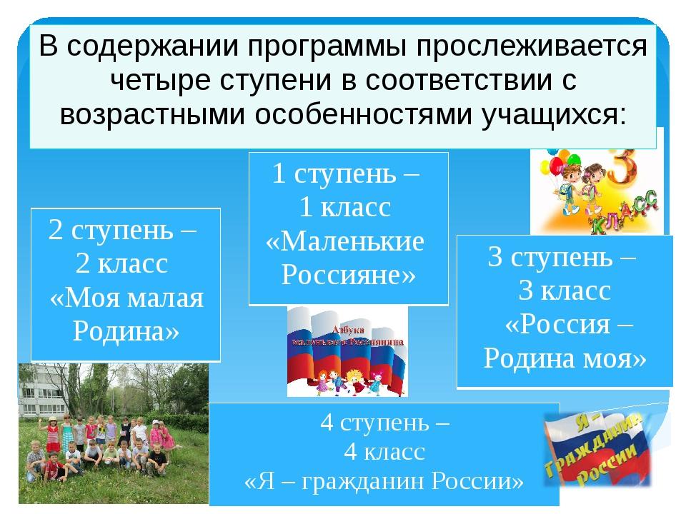 В содержании программы прослеживается четыре ступени в соответствии с возраст...