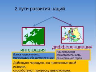 2 пути развития наций Действуют чередуясь на протяжении всей истории, способ