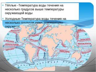 Тёплые -Температура воды течения на несколько градусов выше температуры окруж