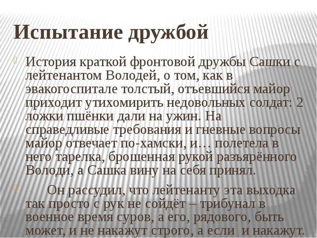 Испытание дружбой История краткой фронтовой дружбы Сашки с лейтенантом Володе...