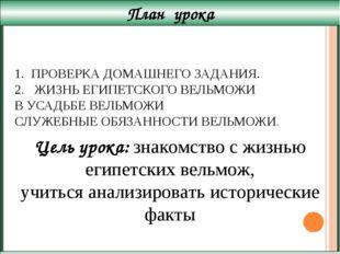 ПРОВЕРКА ДОМАШНЕГО ЗАДАНИЯ. 2. ЖИЗНЬ ЕГИПЕТСКОГО ВЕЛЬМОЖИ В УСАДЬБЕ ВЕЛЬМОЖИ