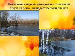 Появляются первые заморозки и тоненький ледок на речке, выпадает первый снежок