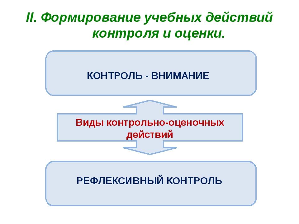 II. Формирование учебных действий контроля и оценки. Виды контрольно-оценочны...