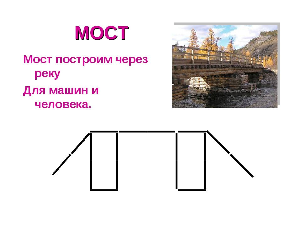 МОСТ Мост построим через реку Для машин и человека.