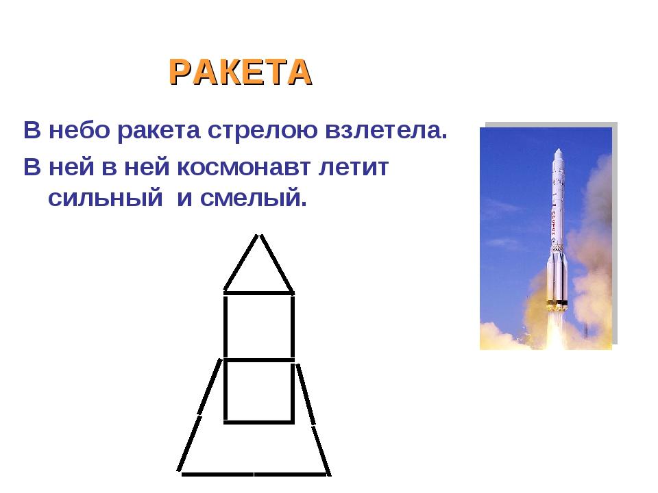 РАКЕТА В небо ракета стрелою взлетела. В ней в ней космонавт летит сильный и...