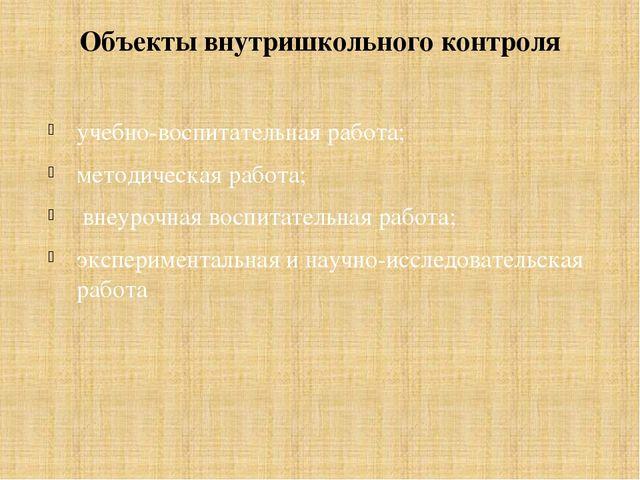 Объекты внутришкольного контроля учебно-воспитательная работа; методическая р...