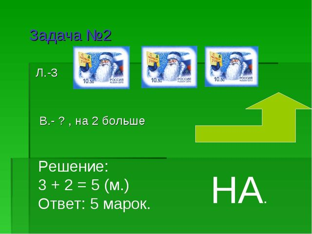 Л.-3 В.- ? , на 2 больше Задача №2 Решение: 3 + 2 = 5 (м.) Ответ: 5 марок. НА.