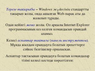 Терезе тақырыбы – Windows жүйесінің стандартты тақырып жолы, онда ашылған Web