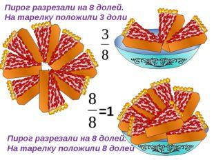 Пирог разрезали на 8 долей. На тарелку положили 3 доли Пирог разрезали на 8 д