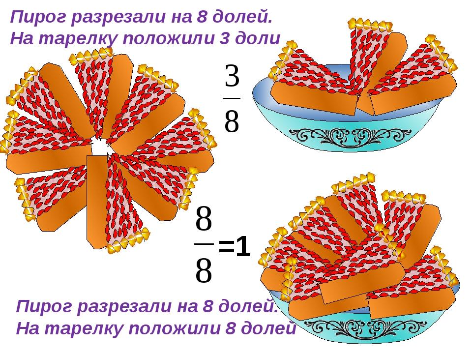 Пирог разрезали на 8 долей. На тарелку положили 3 доли Пирог разрезали на 8 д...