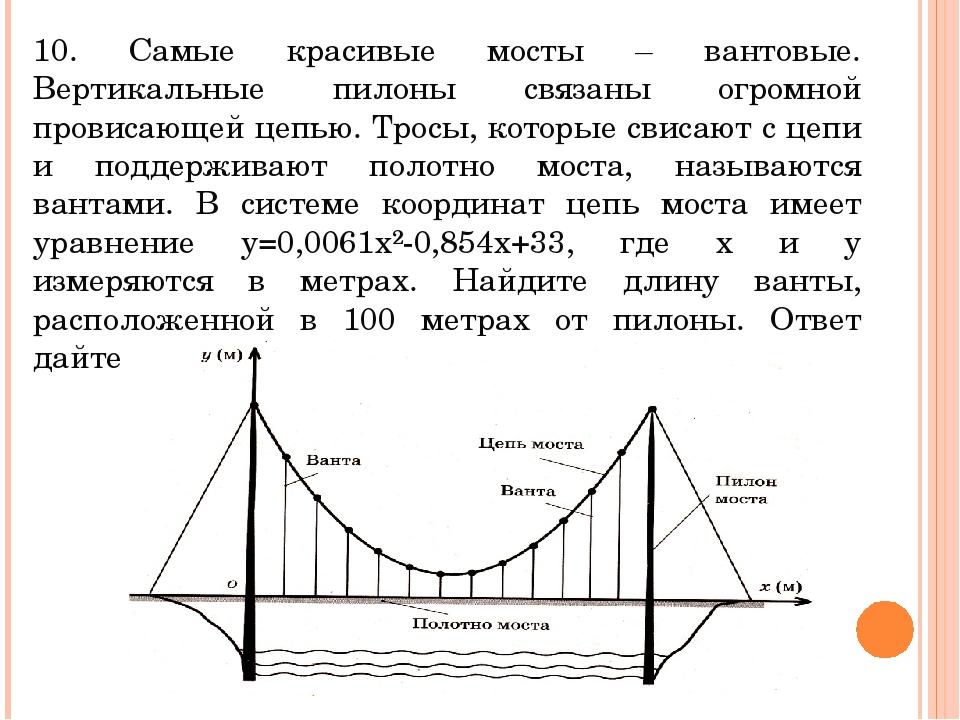 10. Самые красивые мосты – вантовые. Вертикальные пилоны связаны огромной про...