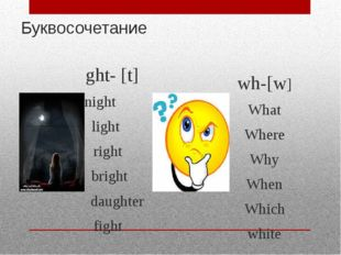 Буквосочетание ght- [t] night light right bright daughter fight wh-[w] What W