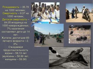 Рождаемость – 35,79 на 1000 человек; Смертность – 9,37 на 1000 человек; Детск