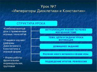 Урок №7 «Императоры Диоклетиан и Константин» Комбинированный урок с применени