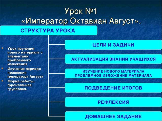 Урок №1 «Император Октавиан Август». Урок изучения нового материала с элемент...