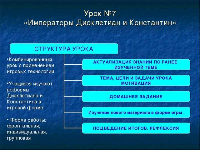 Урок №7 «Императоры Диоклетиан и Константин» Комбинированный урок с применени...