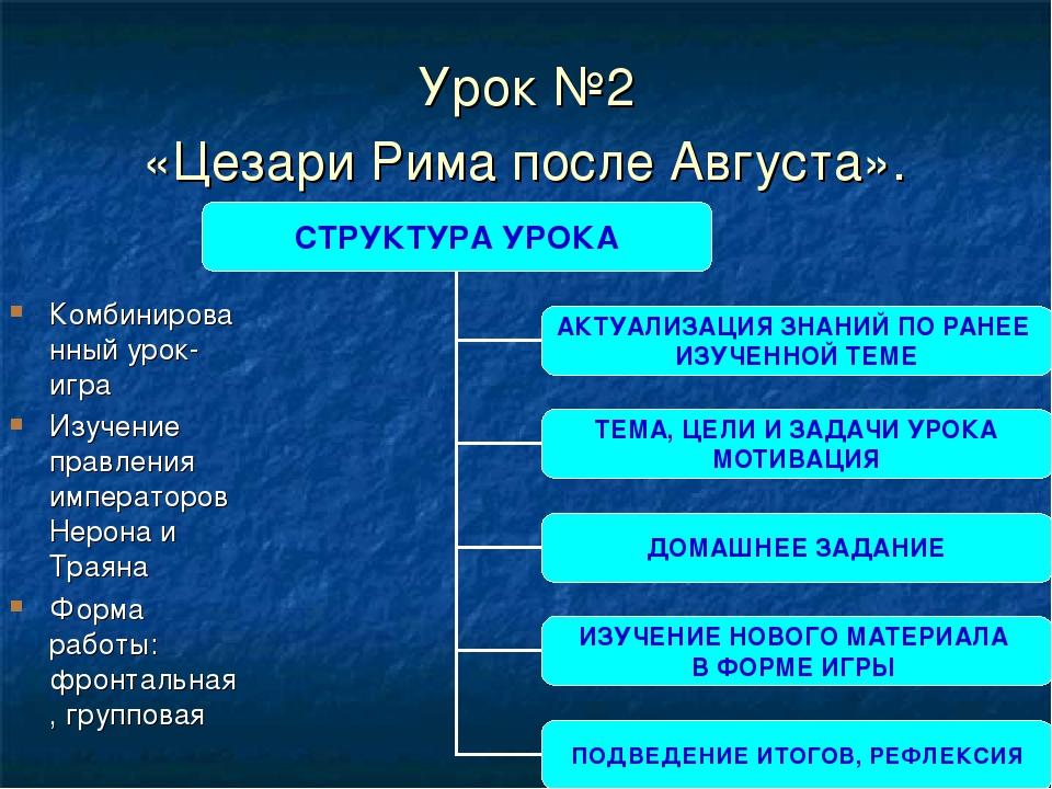 Урок №2 «Цезари Рима после Августа». Комбинированный урок-игра Изучение правл...