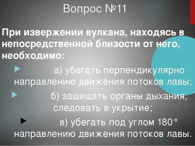 Вопрос №11 При извержении вулкана, находясь в непосредственной близости от не...