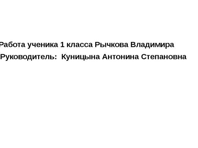 Работа ученика 1 класса Рычкова Владимира Руководитель: Куницына Антонина Ст...