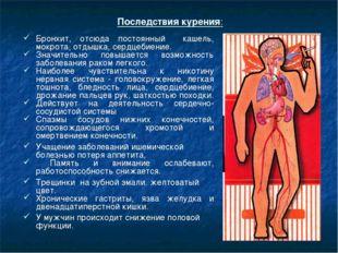 Последствия курения: Бронхит, отсюда постоянный кашель, мокрота, отдышка, сер